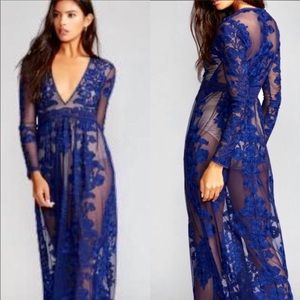 For Love & Lemons Free People Navy Temecula Maxi Dress Lace